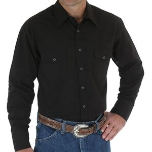 Snap front black long sleeve shirt Wrangler S